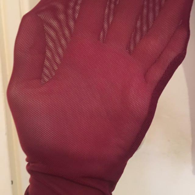 Burgundy mesh see through body suit