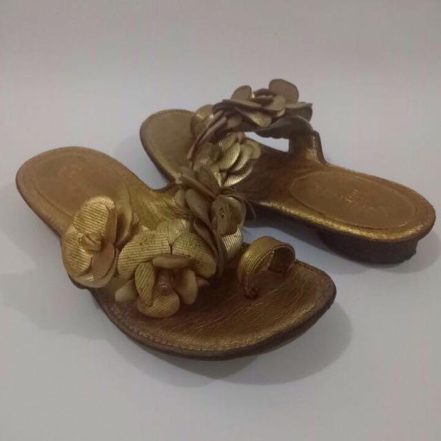 Chanel camellia flower flat leather sandals