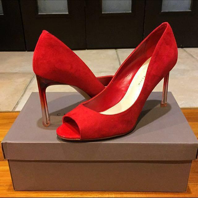 d0335d1ab828 Charles   Keith Red Peep Toe Heels Pumps