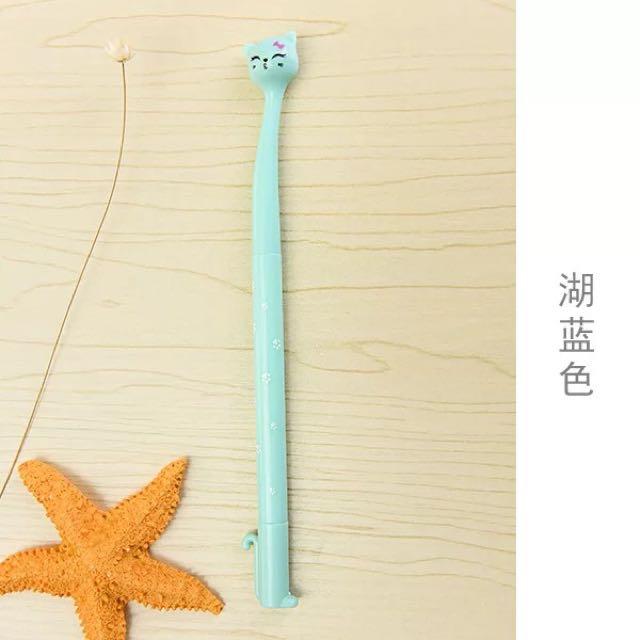 Cute mint blue cat pen