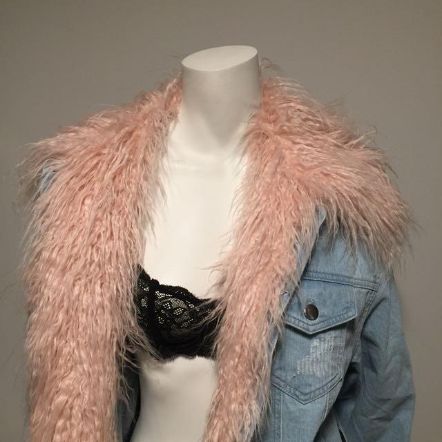 Denim Jacket w/ Fur Insert