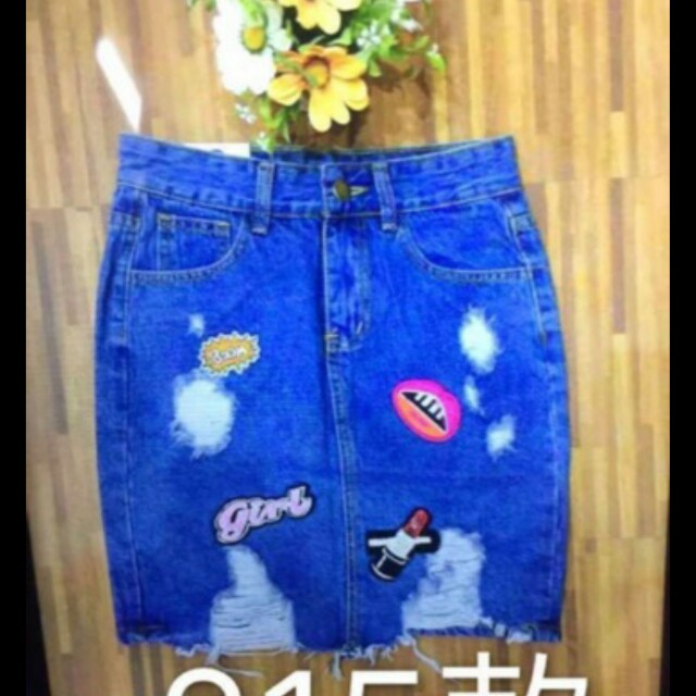 Distress Denim Skirt With Patches