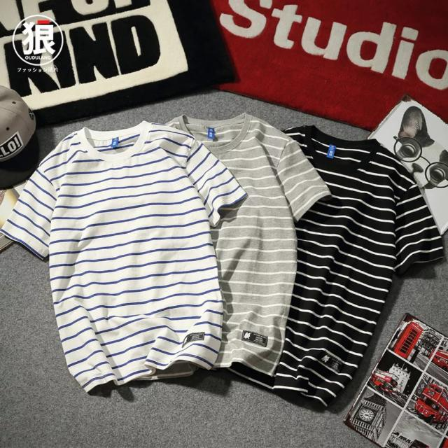 Fashion Men Stripes Oversized Tee Quality T-shirt Stripe Oversize Swag Shirt Clothing Cool Style New Year CNY