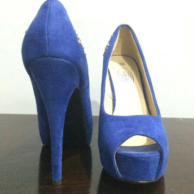 Free SF! Blue Peep Toe Pumps