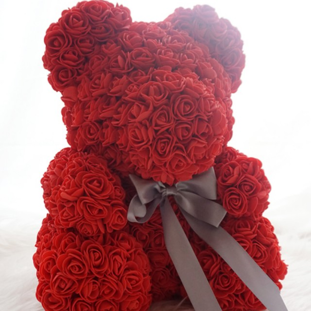 Gift-Wrapped Faux Red Rose Teddy Bear