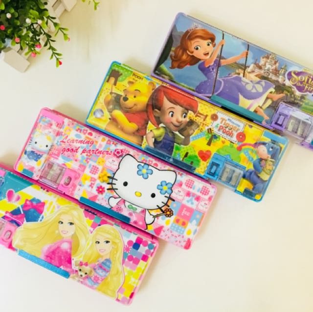 Girls Magnet Cover Pencil Box Sofia Winnie Hello Kitty Barbie Books Stationery On Carousell