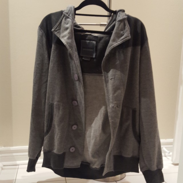 Grey button up hoodie