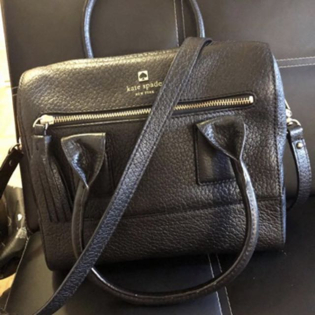 Katespade Pebbled black leather