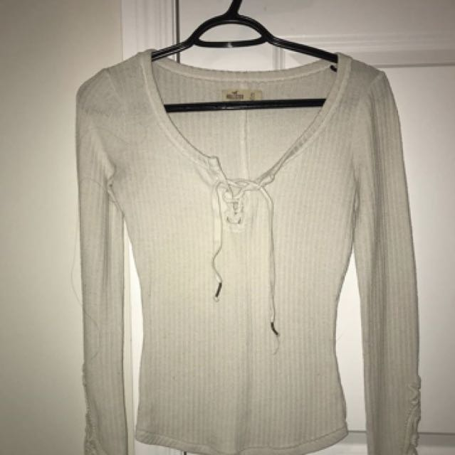 Lace up long sleeve