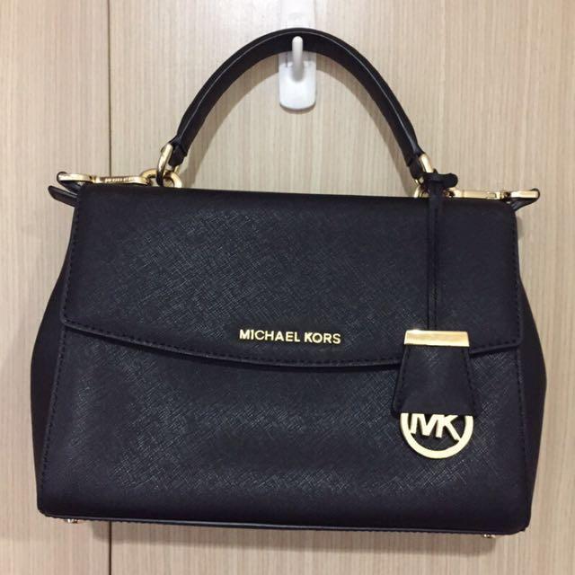 九成新✨Michael Kors Ava small black MK Ava包 黑色金字