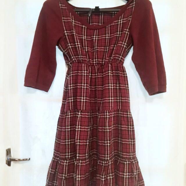 MNG Maroon Plaid Mini Dress