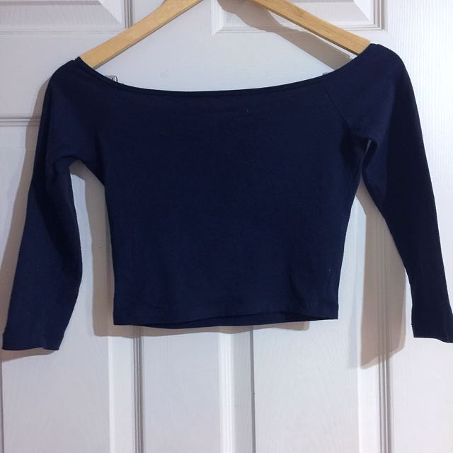 Navy off shoulder crop top Hollister