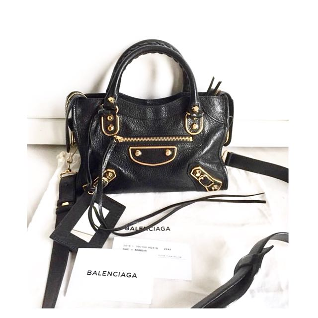 New! Balenciaga Regular Metallic Edge in  Black Chevre (grained leather)