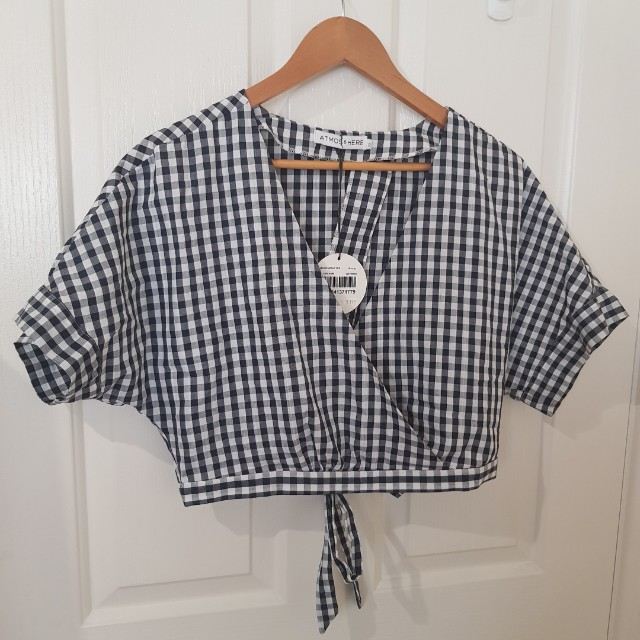 NEW gingham tie back top