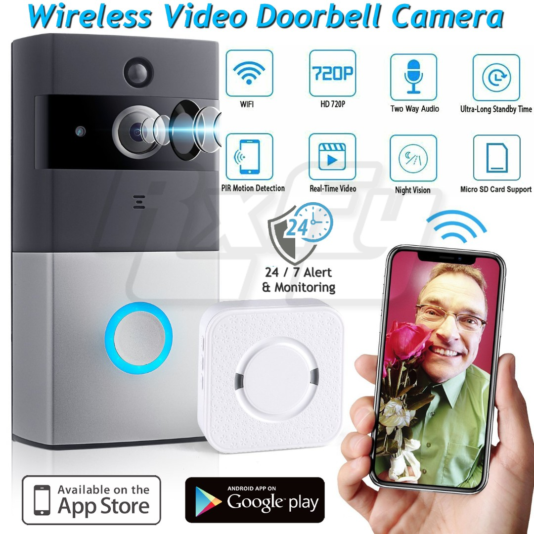 *NEW* Wireless WiFi Video Doorbell Cam, 720P HD Security Camera CCTV PIR Motion Detection, Two-Way Talk Video Phone Intercom, Night Vision, Indoor Chime Ring, App Control for IOS/ Android, K2