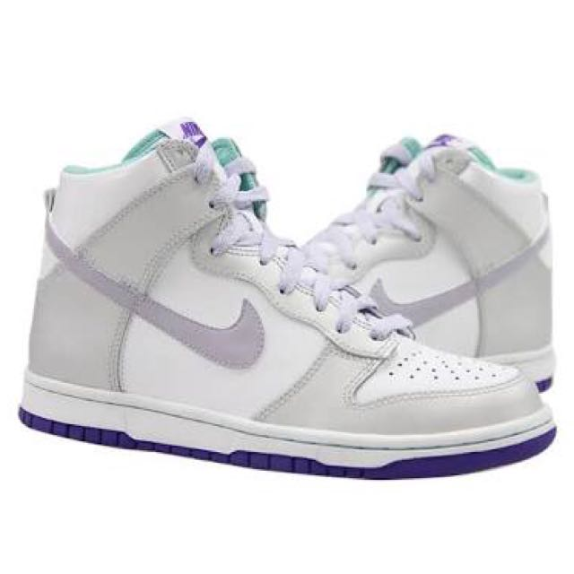 hot sale online 75b04 c1620 Nike Dunk High GS White Purple Silver size39 (EUR), Women s Fashion, Shoes  on Carousell