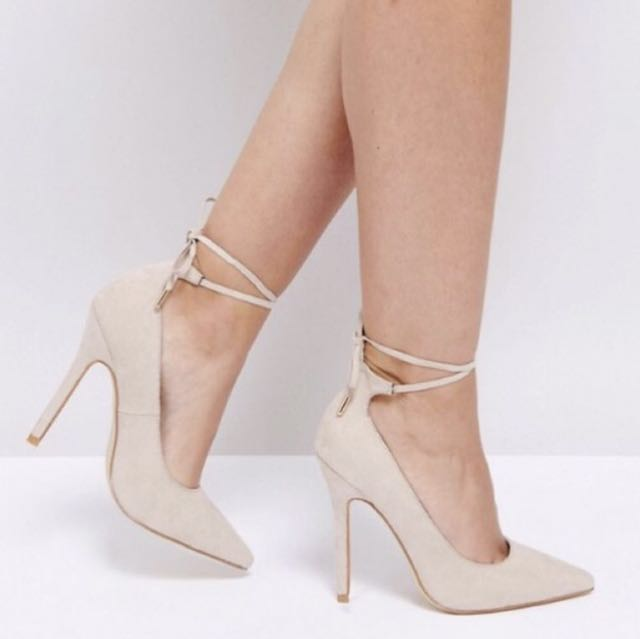 Nude Lace-up Court Heels