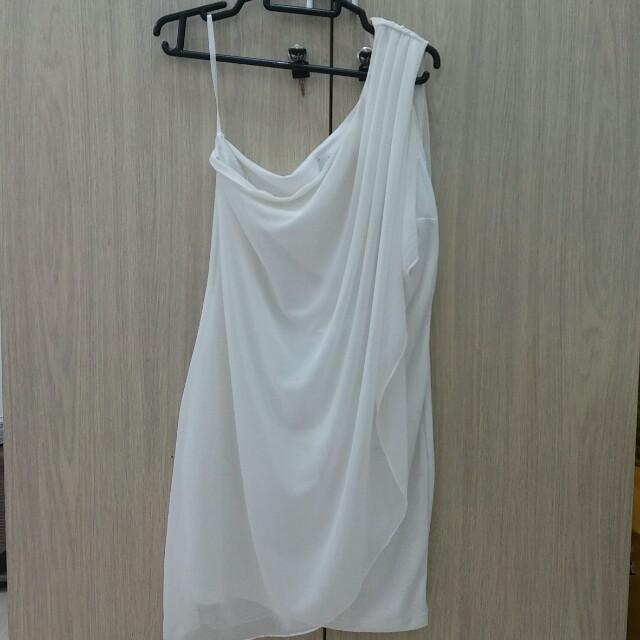 One Shouler Dress White M