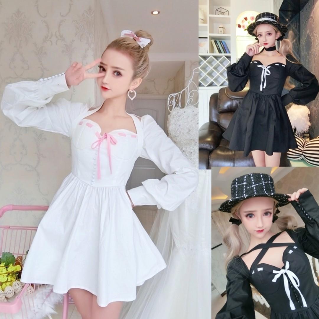 3850870b018 Pre order white black lolita long sleeve bridesmaid prom dress gown  RBP0666