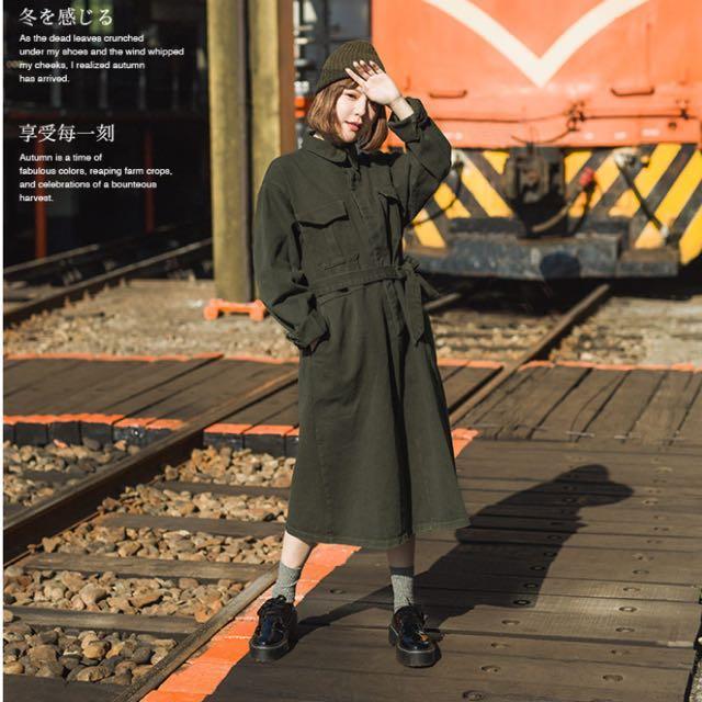Queenshop素色造型綁腰帶洋裝