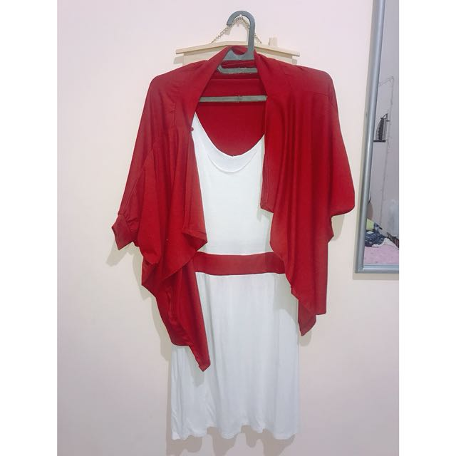 Red And White Midi Dress