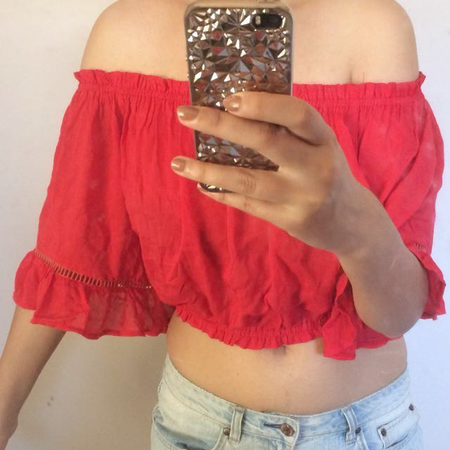 Red ruffle sleeve off Shoulder top
