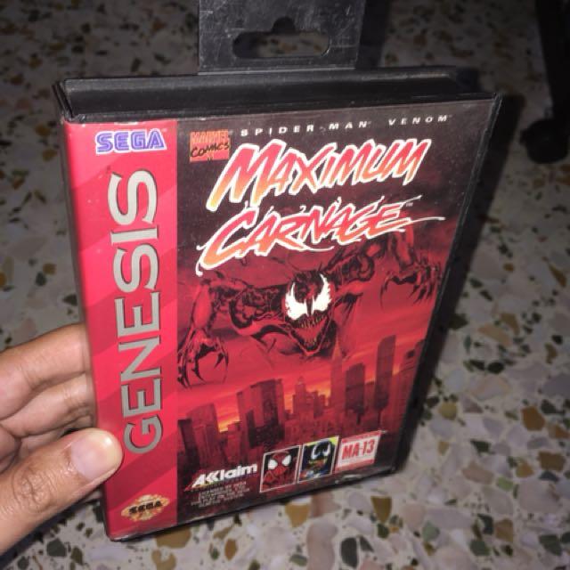 Sega Genesis Spiderman Venom Maximum Carnage Toys Games Video