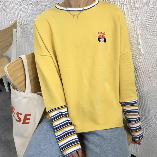 ♡寬鬆刺繡條紋T恤