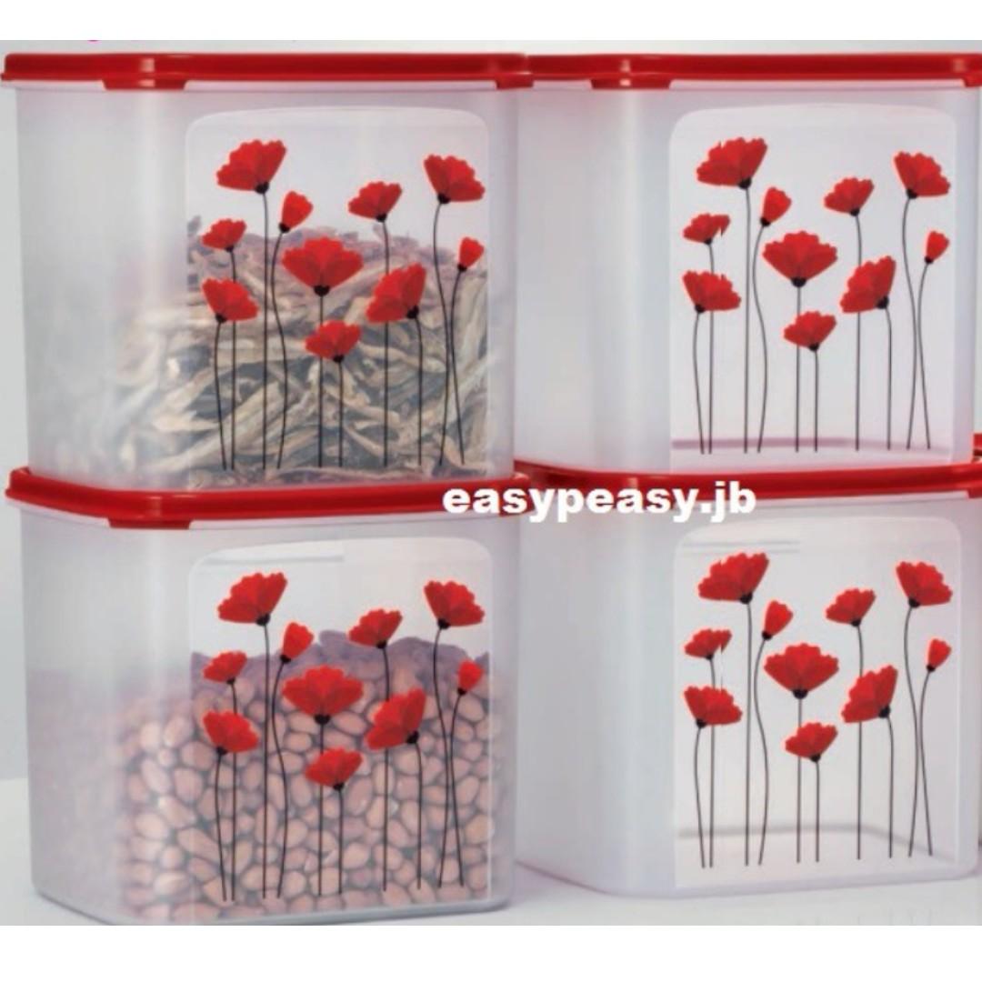 Tupperware Red Poppy Garden Set Square 4 liter (4) [LIMITED EDITION]