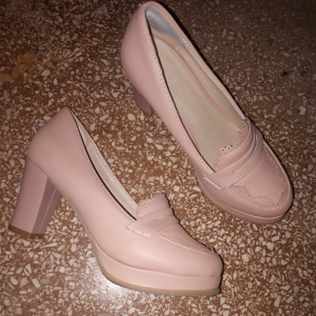 Very cute blush pink loafer heels