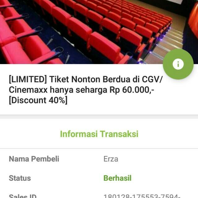 Voucher Tiket Nonton Berdua Di Cgv Cinemaxx Jakarta Tickets