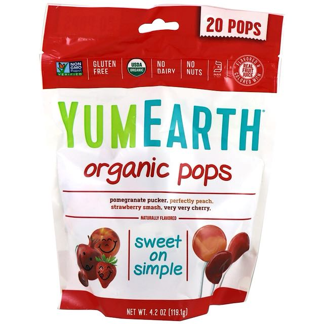 YumEarth, Organic Pops, Assorted Flavors, 20 Pops  (119.1 g)