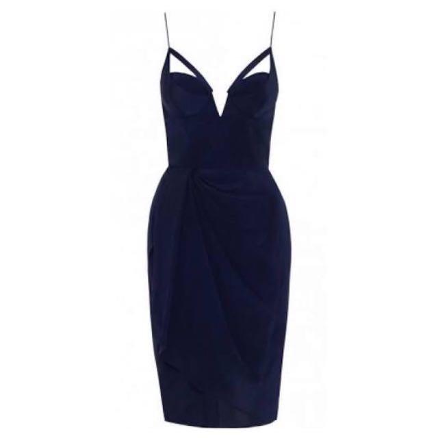 Zimmermann Navy Silk Plunge Drape Dress - Size 2