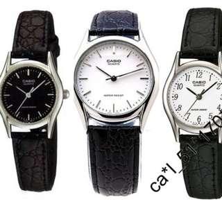 深水埗門市全新有保養正貨 女裝 皮帶錶 指針 條字面 黑面 / 白面 Casio LTP-1094E