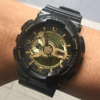 Original Gshock GA-110BR Gunmetal Brown with Gold LCD Display 9/10. Buckle Gold & Screw Bezel Gold