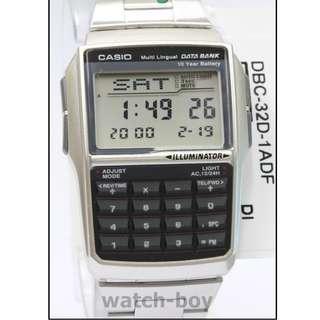 深水埗門市全新有保養正貨 鋼帶 電子錶 LED 照明 多功能鬧鈴 日期 Casio DBC-32D