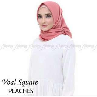 Kerudung / Hijab / Jilbab segiempat Voal Premium Peaches by magentahijab