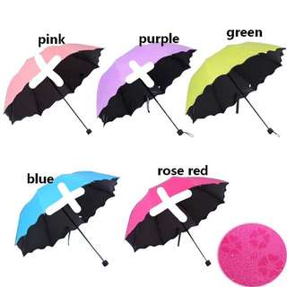 Water Activated Magic Hidden Floral Folding Umbrella Anti-UV Parasol (Lime Apple Green)