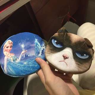 Frozen elsa and grumpy cat coin purse
