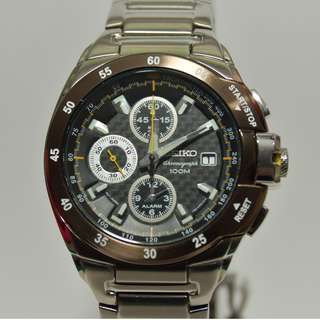 Seiko - SNA651P1 - Criteria, Alarm Chronograph, (Ad model), carbon dial, brown 啡褐色錩圈 (請留意下面Information)