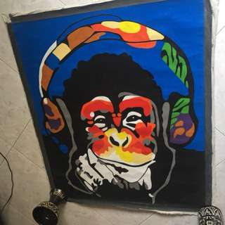 Monkey Headphone Pop Art Painting