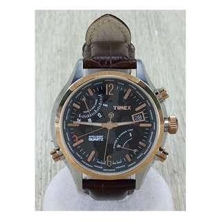 TIMEX  intelligent quartz / quartz wristwatch / analogue / leather / BLK / BRW (SHIP FROM JAPAN)