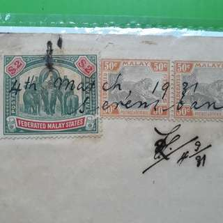 MALAYA , NEGRI SEMBILAN - 1931 - Power of Attorney - $2  ELEPHANT+50c TIGER vintage Revenue Stamp  in67
