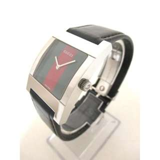 GUCCI (Gucci) watch Sherry 7700 M Men's leather belt green × red (SHIP FROM JAPAN)