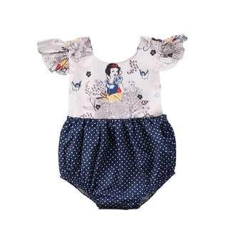 Snow White Navy Blue Polkadot Baby Romper