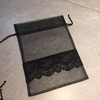 Brand new Black Mesh Bag with drawstring and lace