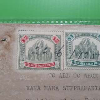 FEDERATED MALAY STATES - 1925 - $2 + $1 Elephant Stamp Power of Attorney - in71