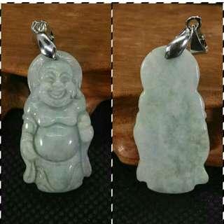 Unique Standing Laughing Buddha Jade Pendant