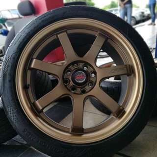 Mugen gp 17 inch sports rim honda city tyre 70%