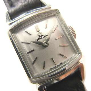 OMEGA antique wristwatch hand winding square silver * TS 170317  Women's (SHIP FROM JAPAN)